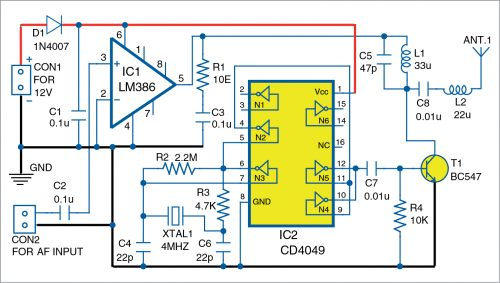 Circuit diagram of shortwave transmitter