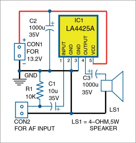 Circuit diagram of the mono AF amplifier
