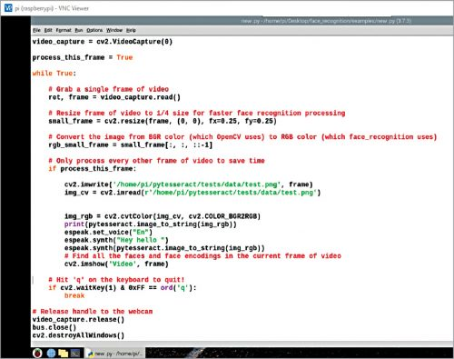 Code snippet for capturing video and processing it for OCR