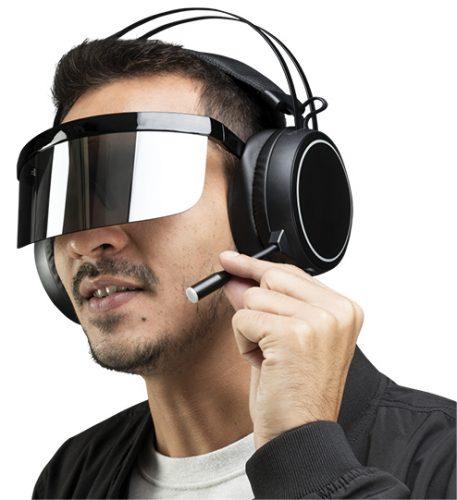 Man wearing headphones and smart glasses mockup