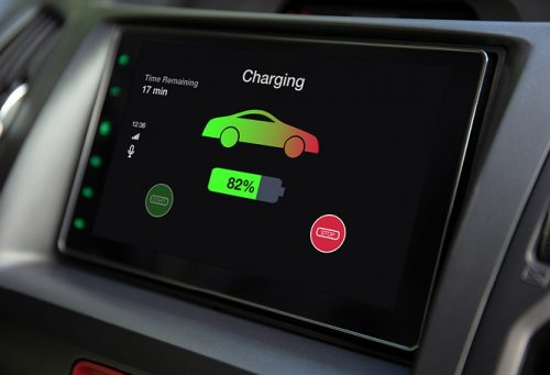 Eco electric car touch multimedia system with charging battery status on the screen