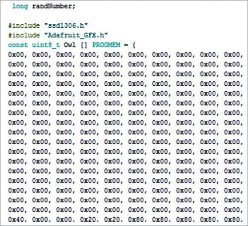 Bitmap hexadecimal in Arduino code