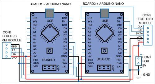 Circuit diagram of GPS based dot-matrix display clock