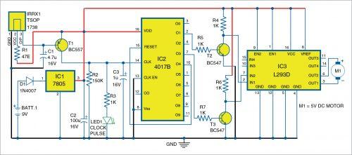 Circuit diagram of the DC motor driver