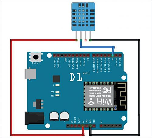 Interfacing of DHT11 sensor with WeMos D1 board