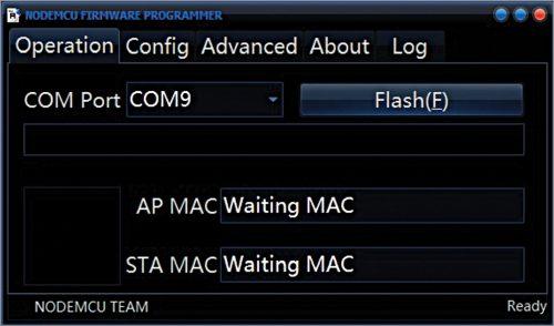 Flash button in ESP8266 flasher