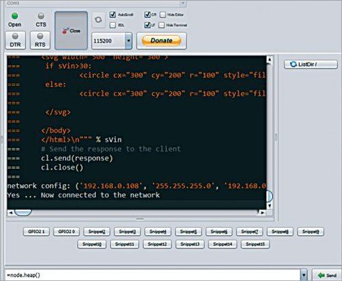IP address displayed on ESPlorer