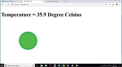 Temperature display on web browser on PC